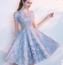 Womens Bridesmaids Sequins Slim Princess Gown Evening Cocktail Tutu Short Dress