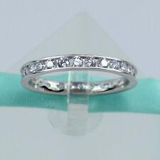 Sterling Silver Eternity Band Wedding 2MM AAAAA Cubic Zirconia Channel Ring