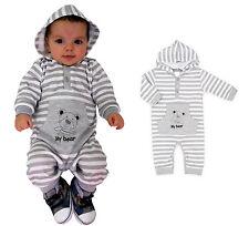 Baby Strampler mit Kapuze grau für Junge NEU Baumwolle Gr.62,68,74,80,86