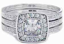 New 925 Silver Ladies 2 piece Cushion Cut Halo Wedding Engagement Ring Set