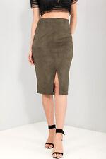 River Island NEW*** Khaki Suedette Midi Pencil Skirt Sizes 6_8_10_12
