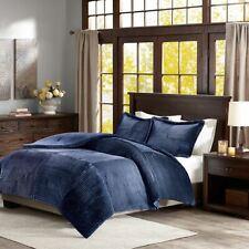 Navy Blue Ultra Plush Corduroy Comforter AND Decorative Shams - ALL SIZES