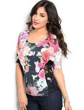 Women's Black Dolman Blouse Top Shirt Stretch Slim Lace Floral Pattern Casual