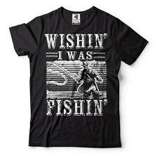 Fishing T-shirts Funny Wishin I Was Fishin T-shirt Fishing Apparel Gift T-shirt