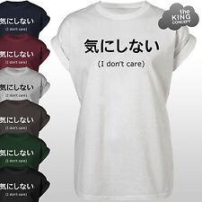Japonés NO CARE Camiseta Top Japón escritura Camiseta Camisa Unisex Oriental