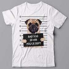 Cool T-shirt - PUG Dog mugshot - gift for dog lovers