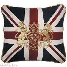 """18"""" CROWN & LION UNION JACK UK FLAG Woven Cotton Cushion Royal Crest BRITANNIA"""