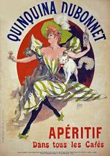 AD74 vintage 1895 Française Quinquina Dubonnet apéritif vin boisson CHERET POSTER A4