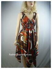C Leo Designer Boho Maxi Faux Silk Brown Satin Sun Abstract Cocktail Dress S M L