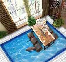 3D delfino piscina blu Pavimento Foto Wallpaper Murales Muro Stampa Decalcomania
