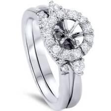 1/2ct Diamond Halo Engagement Bridal Ring Set Setting 14K White Gold
