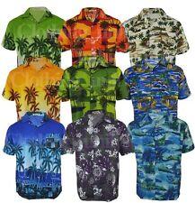 Da Uomo Hawaiano Costume FAGGIO Floreale Camicia Festa Manica Corta Casual M-3XL