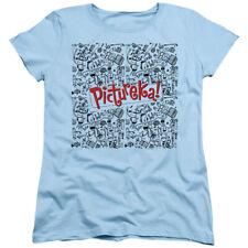 Pictureka Womens T-Shirt Drawings Light Blue Tee