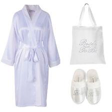Crystal Da Sposa in Raso Accappatoio + BORSA + Spa Pantofole Kimono Vestaglia