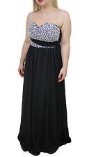 1204 - Abito donna nero lungo made in Italy elegante cerimonia strass brillanti
