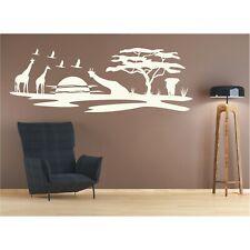 Landschaft Wandtattoo  Giraffen Afrika Sonne Affenbrotbaum Safari Wandaufkleber
