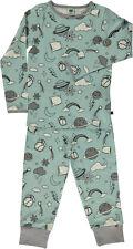 SMAFOLK Schlafanzug Pyjama hellblau grau Nachtmotive 92 98 104 110 116 122 128