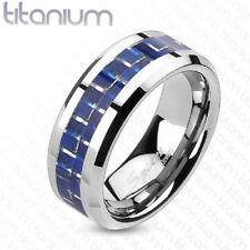 Titanium Blue Carbon Fiber Inlay Center Engagement Mens Ring Wedding Band