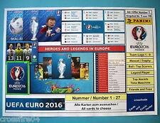 Panini Adrenalyn em euro 2016-time máquina, Legend EC, todas las tarjetas nº 1 - 27