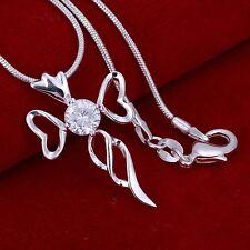 Halskette Kreuz Silber pl, mit Kreuz Anhänger  Partnerkette Verlobung  925