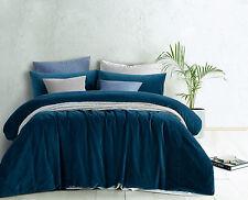Vintage Design Blue Cotton Velvet Quilt Doona Cover Set - QUEEN KING Super KING