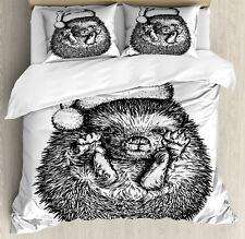 Hedgehog Duvet Cover Set with Pillow Shams Winter Attire Hat Print