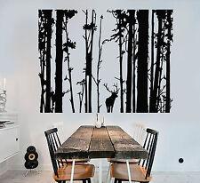 Vinyl Wall Decal Forest Landscape Trees Deer Animal Art Decor Stickers (1245ig)