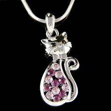 w Swarovski Crystal ~Purple Kitty Cat~~ Kitten Pet Animal Lover Pendant Necklace