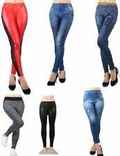 Stretch Damen Leggins, Leggings Hose Jeans oder in Lederoptik 6 Farben LEG6