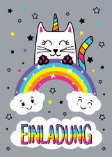 Einladungskarten Kindergeburtstag Mädchen Katze Einhorn Einladung Geburtstag