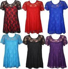 Womens Ladies Plus Size Short Sleeve Floral Lace Top Dress 14 16 20 22 24 26