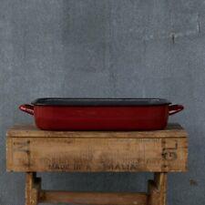 Romanian enamel baking pan, red