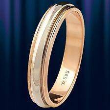 Rot/weiss Gold 585 Ehering mit beweglichem Außenring. Trauringe 4,0 mm BICOLOR