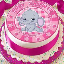 ELEPHANT ROSE FILLE BABY SHOWER Precut Edible Cake topper decoration