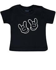 Baby T-Shirt Babyshirt schwarz ROCK MUSIC metal festival fun musik Pommesgabel