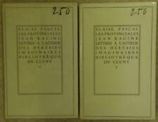 Les Provinciales Pascal Bibliothèque de Cluny 2 tomes