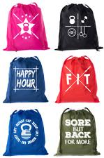 Extreme Fitness Bags, Powerlifting Drawstring Backpacks, Mini Gym Cinch Sacks