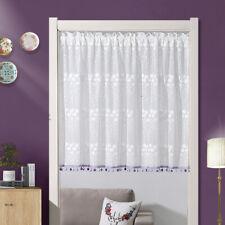 Net Lace Floral Door/Window Curtain Kitchen Doorway Room Divider Decor White