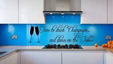 Tempo DI BERE CHAMPAGNE & Dance sul tavolo Citazione Vinile Wall Art Decalcomania Sticker