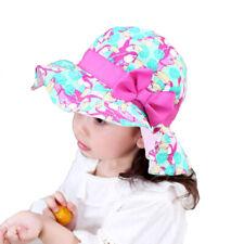 Summer Girls Kids Sun Hats Flamingo Printed UV Beach Cap Bucket Hat Wide Brim