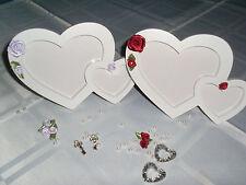 Doppel - Rahmen,Herz / Rosen Satin, weiß, Romantik, Hochzeit, Verlobung Landhaus