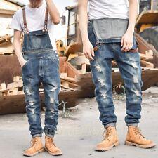 Mens Slim Casual Denim Overalls Jeans Pants Trousers Suspenders Jumpsuits Romper