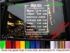 STORE HOURS CUSTOM WINDOW DECAL BUSINESS nails salon hair massage barber shop