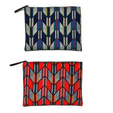 Korea Women ARROW Clutch Pouch Bag Handbag Purse Faux Leather Polyester Large