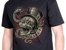 Felon Pin Up Punk Street Bike Gothic Americana Tattoo Art Mens Tee SNAKE EYES