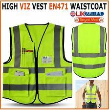 Hi Vis Viz Safety Vest Waistcoat High Visibility Reflective Yellow Orange Jacket