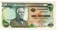 Mozambique ULTRAMARINO PORTUGAL 1000 ESCUDO 1972 P115 SANS SURCHARGE BON ETAT/XF