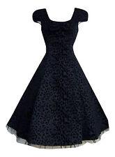 Alternative / 50's Vintage Black Leopard Flocked Party Prom Tea Dress New 8 - 18