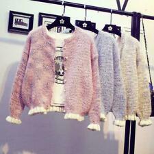 Women's knitting Sweater Pearl Jacket Cardigan Korean Short Spring Autumn sz