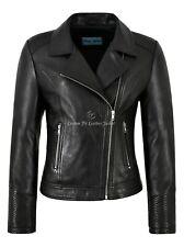 FELPA Ladies Biker Style Jacket Black Napa Leather Quilted Sleeves Fashion 2225